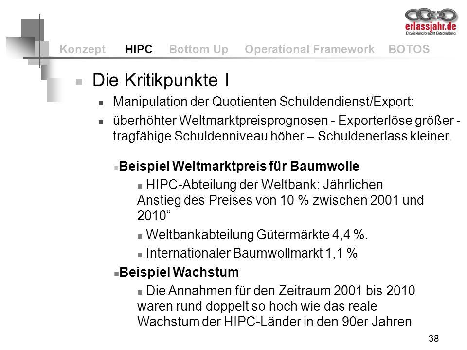 38 Konzept HIPC Bottom Up Operational Framework BOTOS Die Kritikpunkte I Manipulation der Quotienten Schuldendienst/Export: überhöhter Weltmarktpreisp