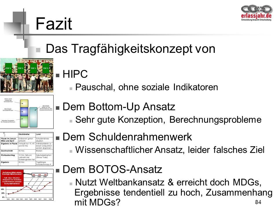 84 Fazit Das Tragfähigkeitskonzept von HIPC Pauschal, ohne soziale Indikatoren Dem Bottom-Up Ansatz Sehr gute Konzeption, Berechnungsprobleme Dem Schu