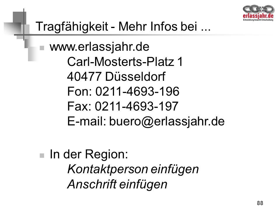 88 Tragfähigkeit - Mehr Infos bei... www.erlassjahr.de Carl-Mosterts-Platz 1 40477 Düsseldorf Fon: 0211-4693-196 Fax: 0211-4693-197 E-mail: buero@erla