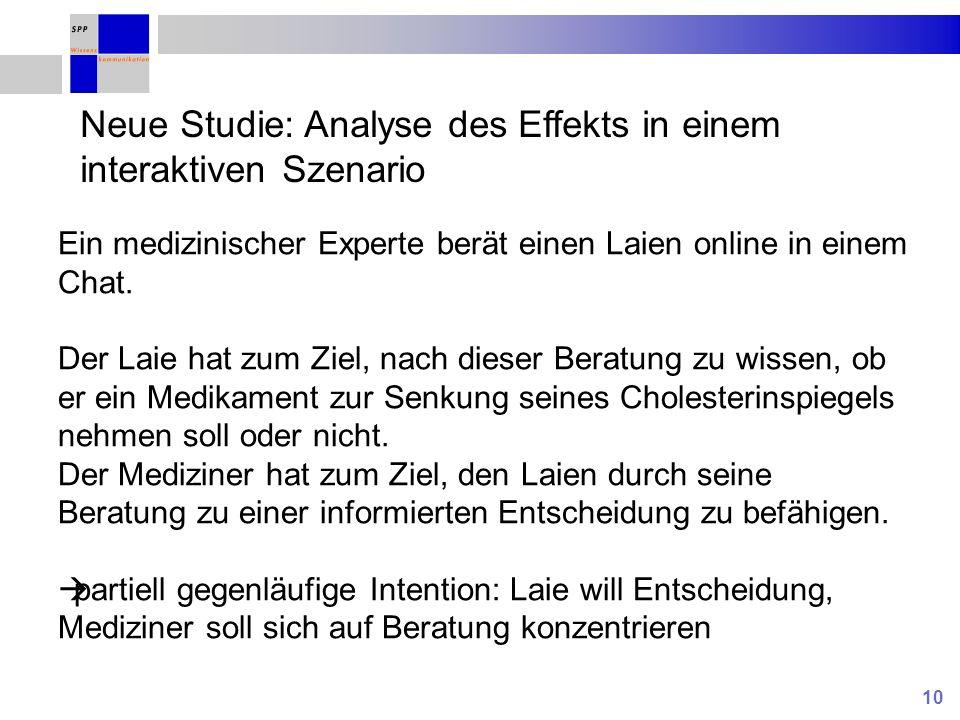 10 Neue Studie: Analyse des Effekts in einem interaktiven Szenario Ein medizinischer Experte berät einen Laien online in einem Chat. Der Laie hat zum