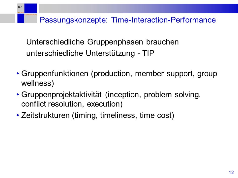 12 Passungskonzepte: Time-Interaction-Performance Gruppenfunktionen (production, member support, group wellness) Gruppenprojektaktivität (inception, p