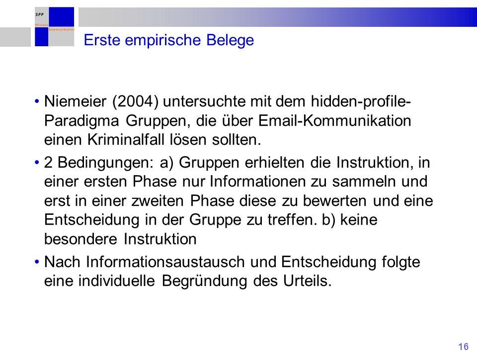 16 Erste empirische Belege Niemeier (2004) untersuchte mit dem hidden-profile- Paradigma Gruppen, die über Email-Kommunikation einen Kriminalfall löse
