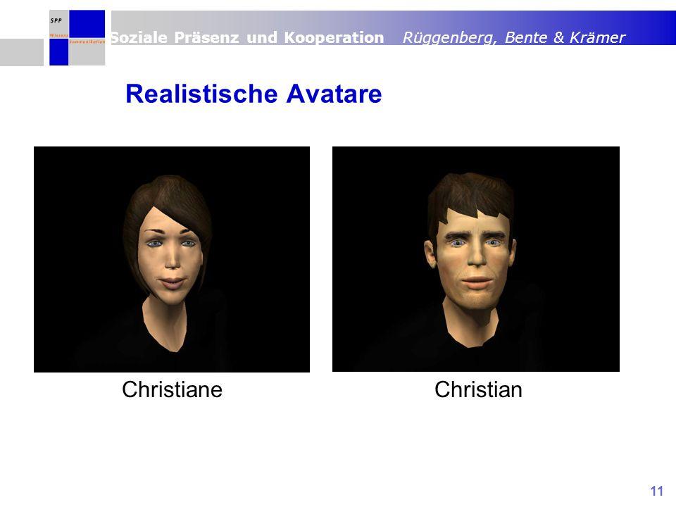 Soziale Präsenz und Kooperation Rüggenberg, Bente & Krämer 11 Realistische Avatare ChristianeChristian