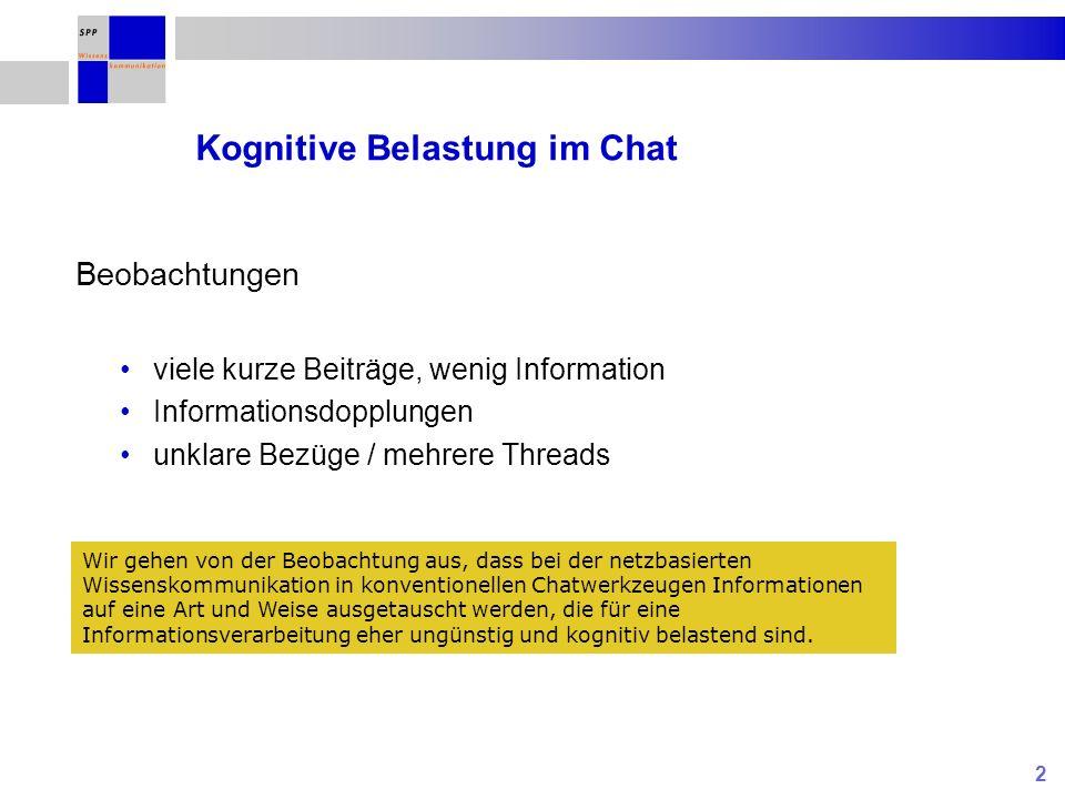 13 Effekte des Tools auf die Art und Weise der Informationsübermittlung Anzahl Nachrichten* Standard- chat Bubblechat- multi Bubblechat- long Bubblechat- short 63481720 Einfaktorielle VA F (3,80) = 29.706; p < 0.01 Einfacher Kontrast p < 0.05 *von einer Person in einer Sitzung geschrieben, Mittelwert je Bedingung Während es nicht überrascht, dass in den beiden Chat-Werkzeugen mit Turn-Taking-Steuerung sehr viel weniger Nachrichten geschrieben werden (können) als in einem Standard-Werkzeug, muss die geringere Nachrichten-anzahl in Bubblechat-multi an der Awareness über die Schreibaktivität der anderen Teilnehmer liegen.