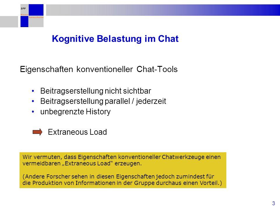 3 Kognitive Belastung im Chat Eigenschaften konventioneller Chat-Tools Beitragserstellung nicht sichtbar Beitragserstellung parallel / jederzeit unbegrenzte History Extraneous Load Wir vermuten, dass Eigenschaften konventioneller Chatwerkzeuge einen vermeidbaren Extraneous Load erzeugen.