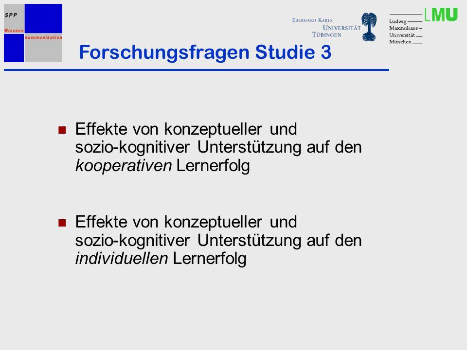Effekte von konzeptueller und sozio-kognitiver Unterstützung auf den kooperativen Lernerfolg Effekte von konzeptueller und sozio-kognitiver Unterstützung auf den individuellen Lernerfolg Forschungsfragen Studie 3