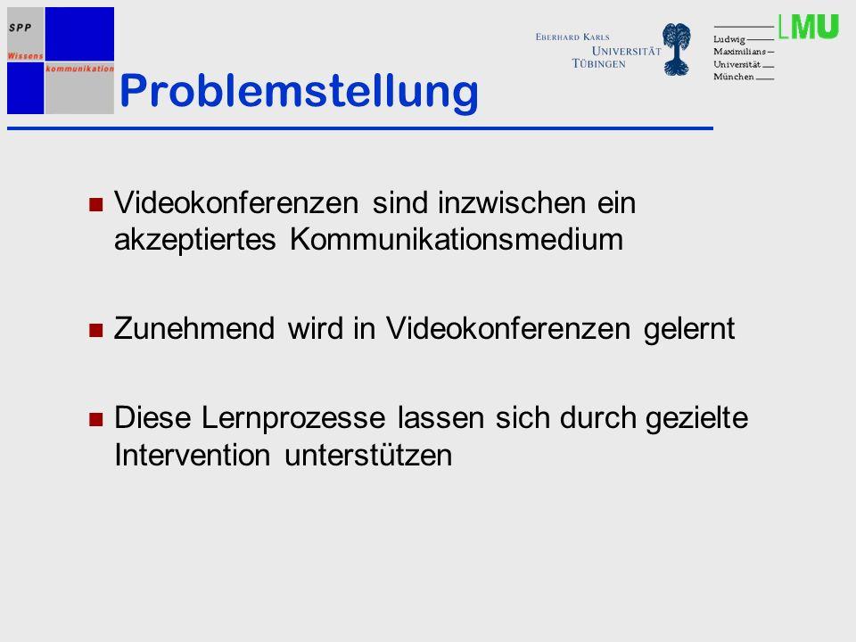 Problemstellung Videokonferenzen sind inzwischen ein akzeptiertes Kommunikationsmedium Zunehmend wird in Videokonferenzen gelernt Diese Lernprozesse lassen sich durch gezielte Intervention unterstützen