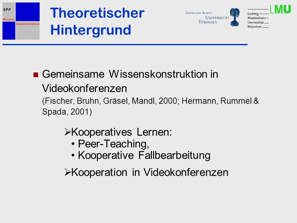 Gemeinsame Wissenskonstruktion in Videokonferenzen (Fischer, Bruhn, Gräsel, Mandl, 2000; Hermann, Rummel & Spada, 2001) Kooperatives Lernen: Peer-Teac