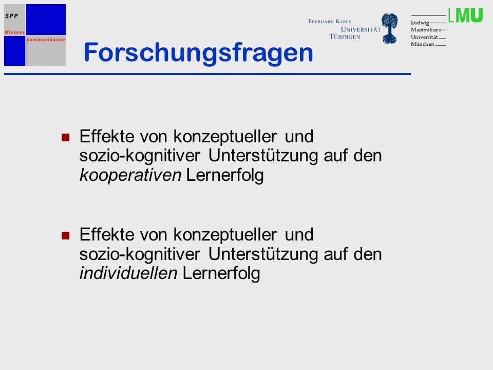 Effekte von konzeptueller und sozio-kognitiver Unterstützung auf den kooperativen Lernerfolg Effekte von konzeptueller und sozio-kognitiver Unterstützung auf den individuellen Lernerfolg Forschungsfragen