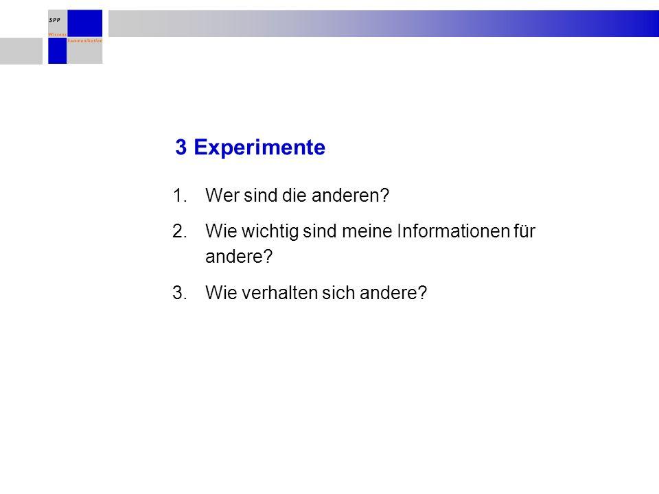 3 Experimente 1.Wer sind die anderen. 2.Wie wichtig sind meine Informationen für andere.