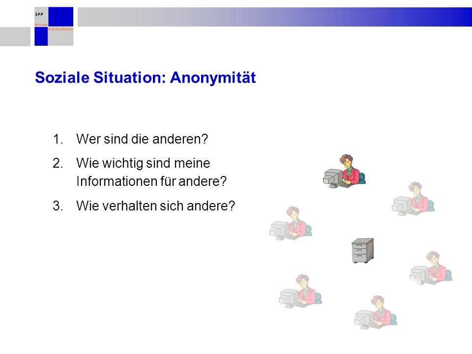 Soziale Situation: Anonymität 1.Wer sind die anderen.