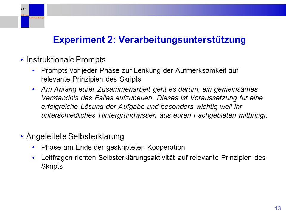 13 Experiment 2: Verarbeitungsunterstützung Instruktionale Prompts Prompts vor jeder Phase zur Lenkung der Aufmerksamkeit auf relevante Prinzipien des