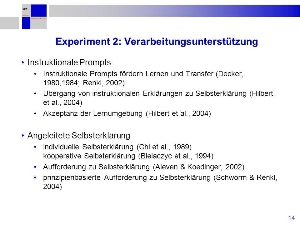 14 Experiment 2: Verarbeitungsunterstützung Instruktionale Prompts Instruktionale Prompts fördern Lernen und Transfer (Decker, 1980,1984; Renkl, 2002)