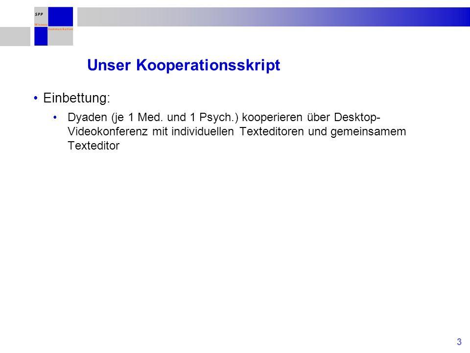 3 Unser Kooperationsskript Einbettung: Dyaden (je 1 Med. und 1 Psych.) kooperieren über Desktop- Videokonferenz mit individuellen Texteditoren und gem