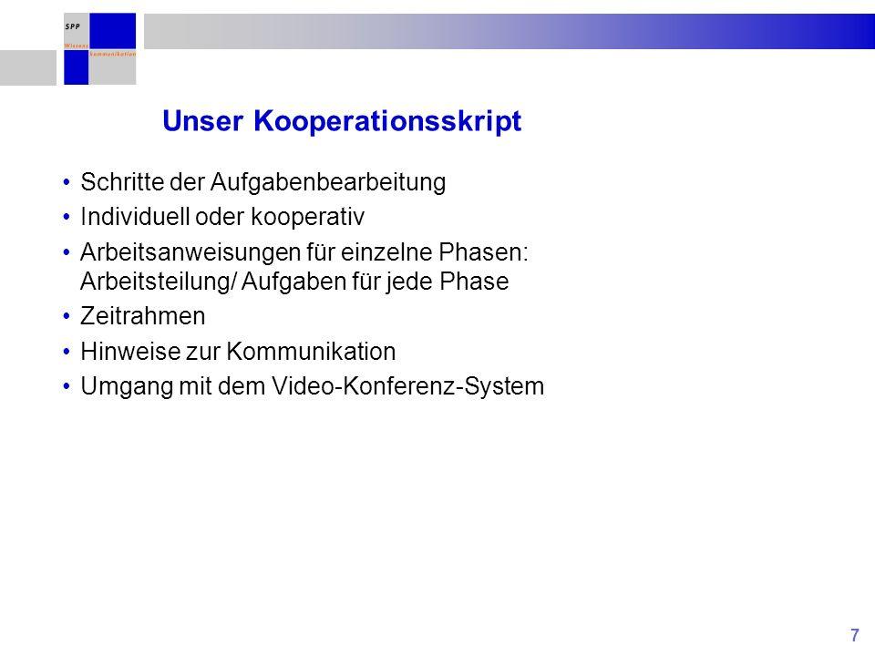 7 Unser Kooperationsskript Schritte der Aufgabenbearbeitung Individuell oder kooperativ Arbeitsanweisungen für einzelne Phasen: Arbeitsteilung/ Aufgab