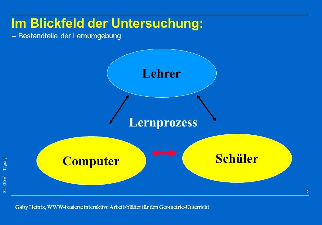 34. GDM - Tagung Gaby Heintz, WWW-basierte interaktive Arbeitsblätter für den Geometrie-Unterricht 1 1. Einleitung 2. Interaktive Arbeitsblätter (erst