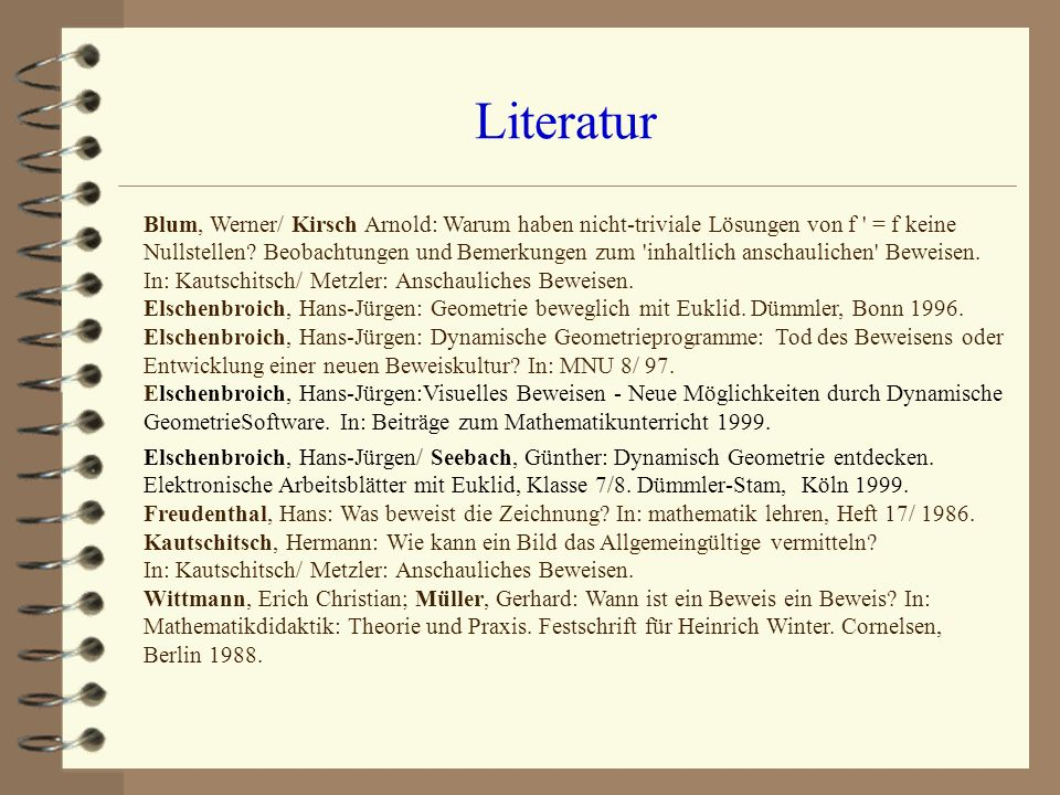 Literatur Blum, Werner/ Kirsch Arnold: Warum haben nicht-triviale Lösungen von f ' = f keine Nullstellen? Beobachtungen und Bemerkungen zum 'inhaltlic