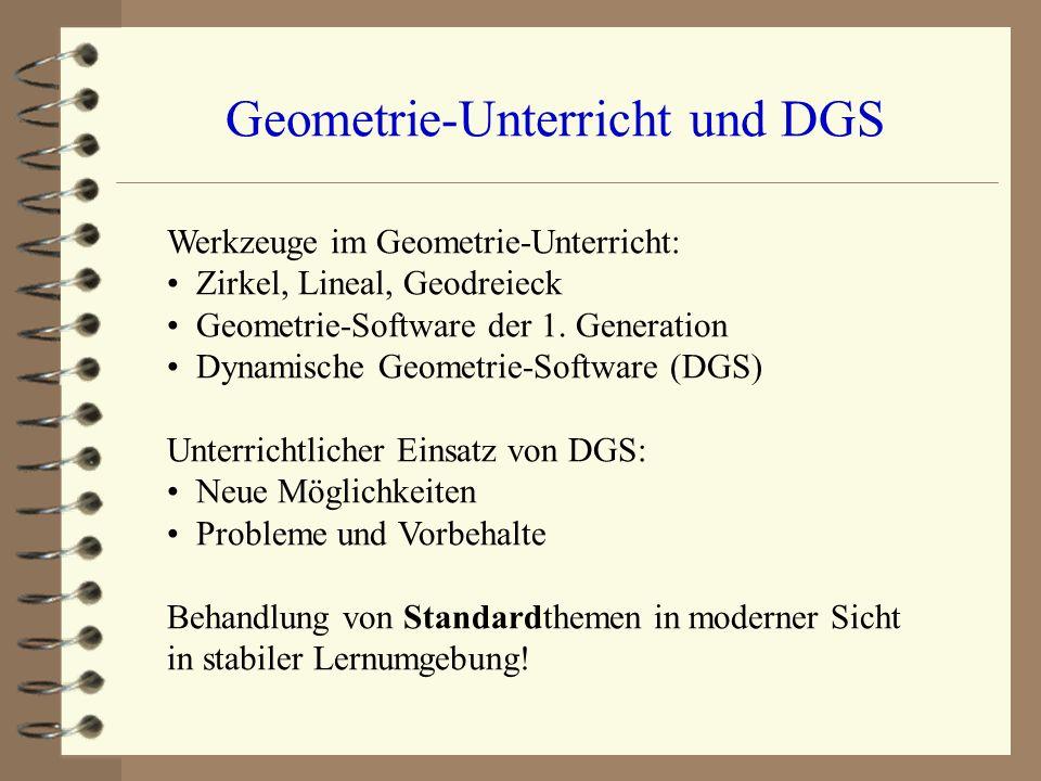 Geometrie-Unterricht und DGS Werkzeuge im Geometrie-Unterricht: Zirkel, Lineal, Geodreieck Geometrie-Software der 1. Generation Dynamische Geometrie-S