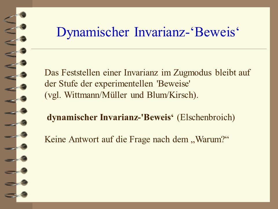 Dynamischer Invarianz-Beweis Das Feststellen einer Invarianz im Zugmodus bleibt auf der Stufe der experimentellen 'Beweise' (vgl. Wittmann/Müller und