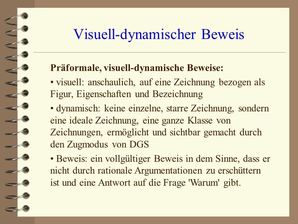 Visuell-dynamischer Beweis Präformale, visuell-dynamische Beweise: visuell: anschaulich, auf eine Zeichnung bezogen als Figur, Eigenschaften und Bezei