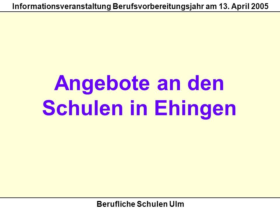 Berufliche Schulen Ulm Informationsveranstaltung Berufsvorbereitungsjahr am 13. April 2005 Angebote an den Schulen in Ehingen