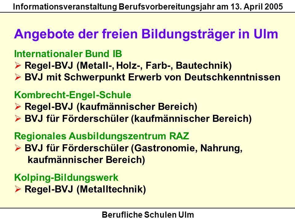Berufliche Schulen Ulm Informationsveranstaltung Berufsvorbereitungsjahr am 13. April 2005 Angebote der freien Bildungsträger in Ulm Internationaler B