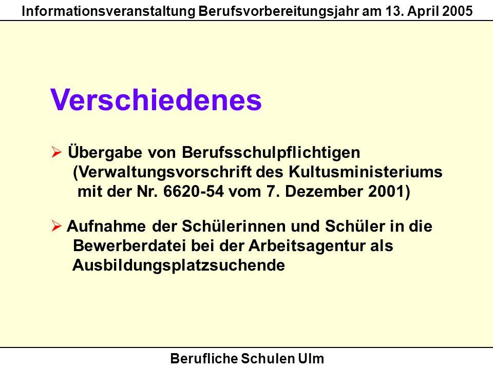 Berufliche Schulen Ulm Informationsveranstaltung Berufsvorbereitungsjahr am 13. April 2005 Verschiedenes Übergabe von Berufsschulpflichtigen (Verwaltu