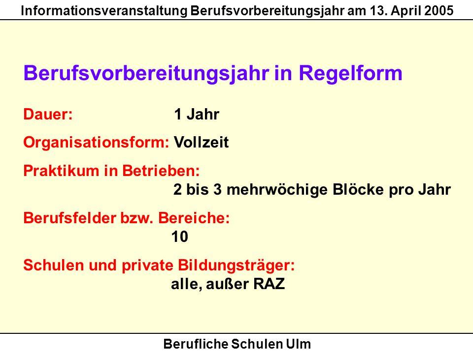 Berufliche Schulen Ulm Informationsveranstaltung Berufsvorbereitungsjahr am 13. April 2005 Berufsvorbereitungsjahr in Regelform Dauer: 1 Jahr Organisa