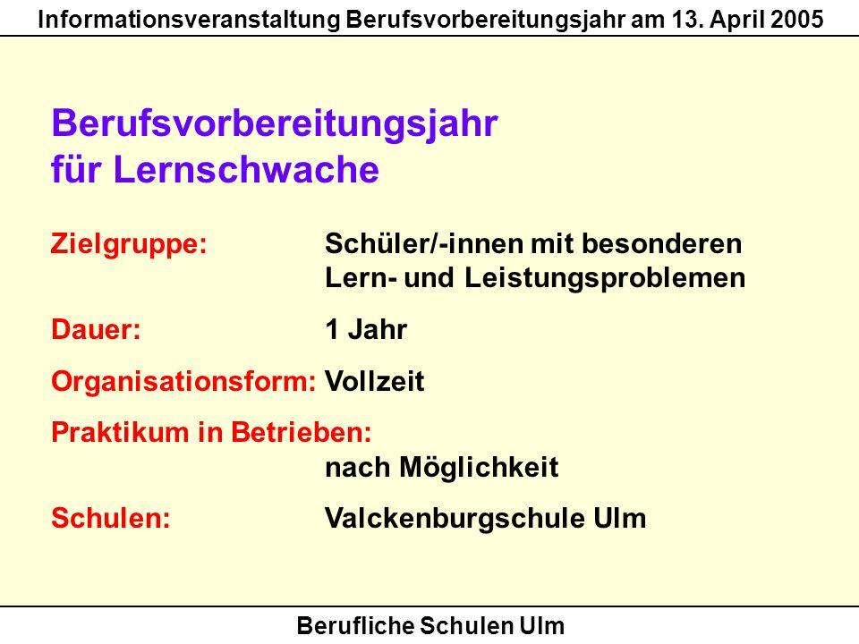 Berufliche Schulen Ulm Informationsveranstaltung Berufsvorbereitungsjahr am 13. April 2005 Berufsvorbereitungsjahr für Lernschwache Zielgruppe: Schüle