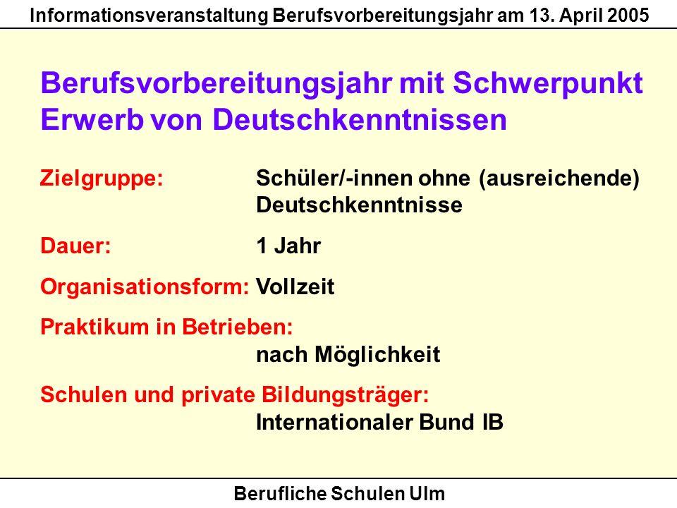 Berufliche Schulen Ulm Informationsveranstaltung Berufsvorbereitungsjahr am 13. April 2005 Berufsvorbereitungsjahr mit Schwerpunkt Erwerb von Deutschk