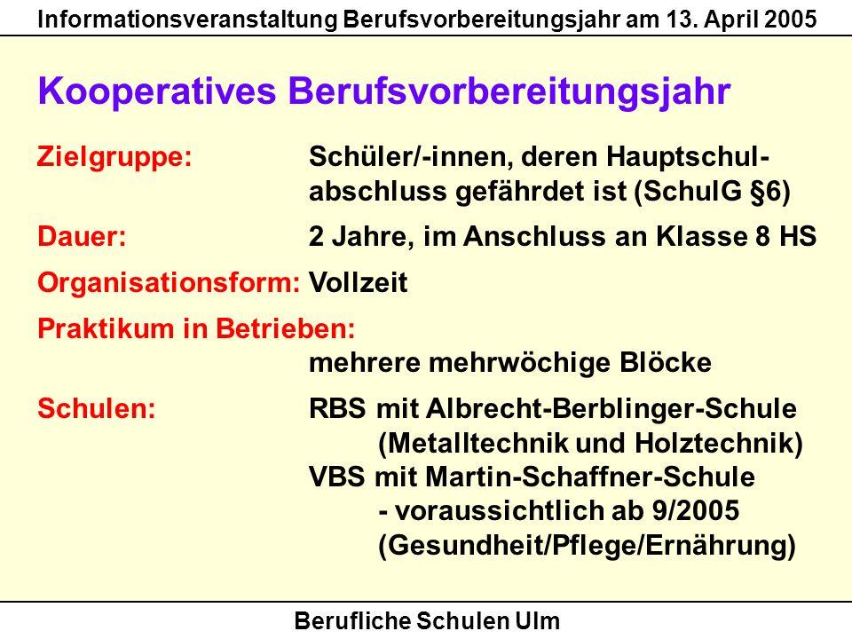 Berufliche Schulen Ulm Informationsveranstaltung Berufsvorbereitungsjahr am 13. April 2005 Kooperatives Berufsvorbereitungsjahr Zielgruppe: Schüler/-i