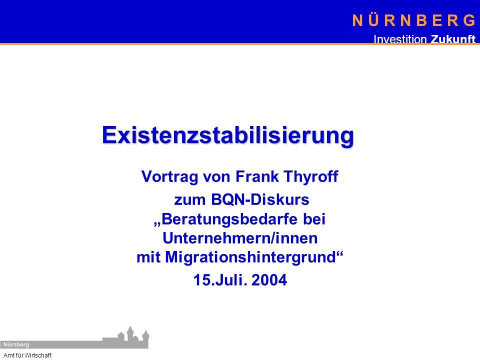 N Ü R N B E R G Investition Zukunft Amt für Wirtschaft Existenzstabilisierung Vortrag von Frank Thyroff zum BQN-Diskurs Beratungsbedarfe bei Unternehm
