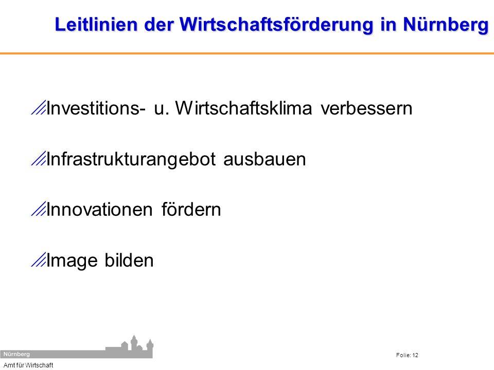 Amt für Wirtschaft Folie: 12 Leitlinien der Wirtschaftsförderung in Nürnberg Investitions- u. Wirtschaftsklima verbessern Infrastrukturangebot ausbaue