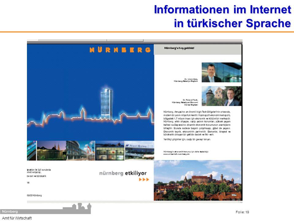 Amt für Wirtschaft Folie: 19 Informationen im Internet in türkischer Sprache