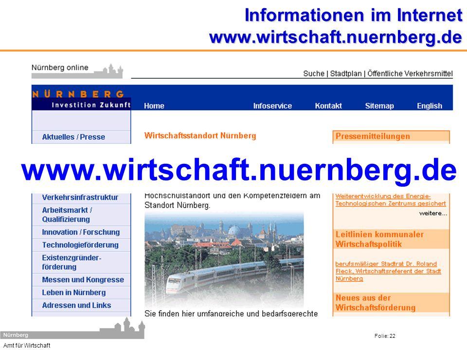 Amt für Wirtschaft Folie: 22 Informationen im Internet www.wirtschaft.nuernberg.de www.wirtschaft.nuernberg.de