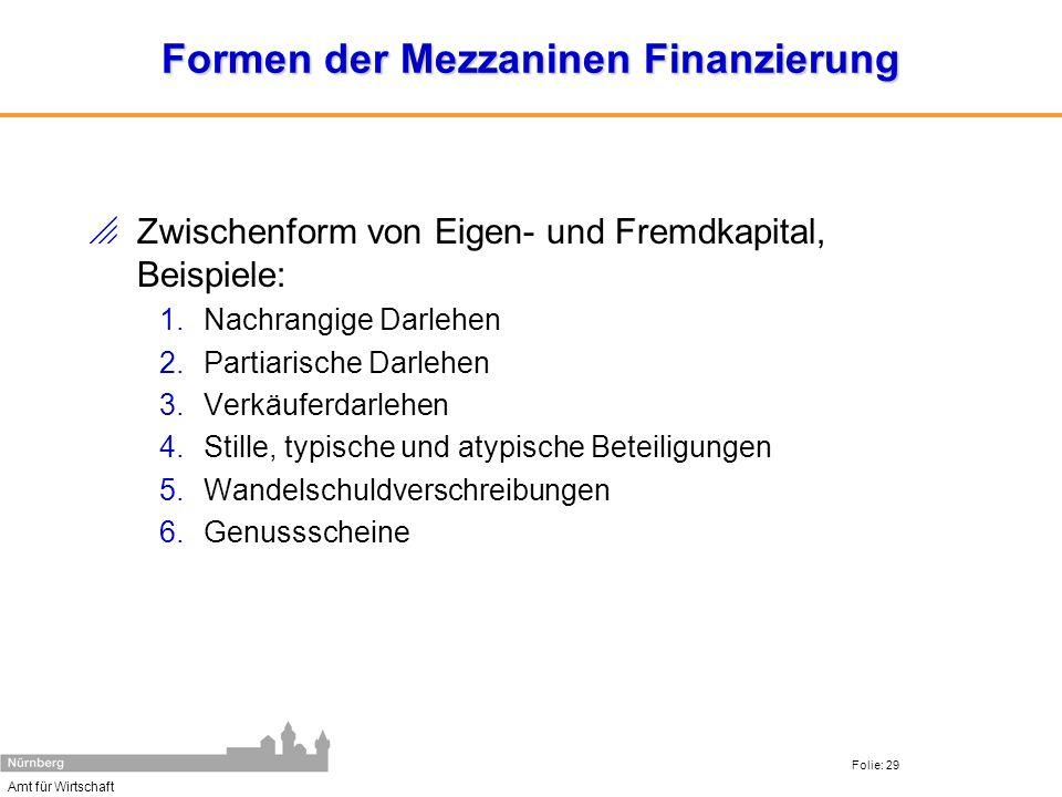Amt für Wirtschaft Folie: 29 Formen der Mezzaninen Finanzierung Zwischenform von Eigen- und Fremdkapital, Beispiele: 1.Nachrangige Darlehen 2.Partiari