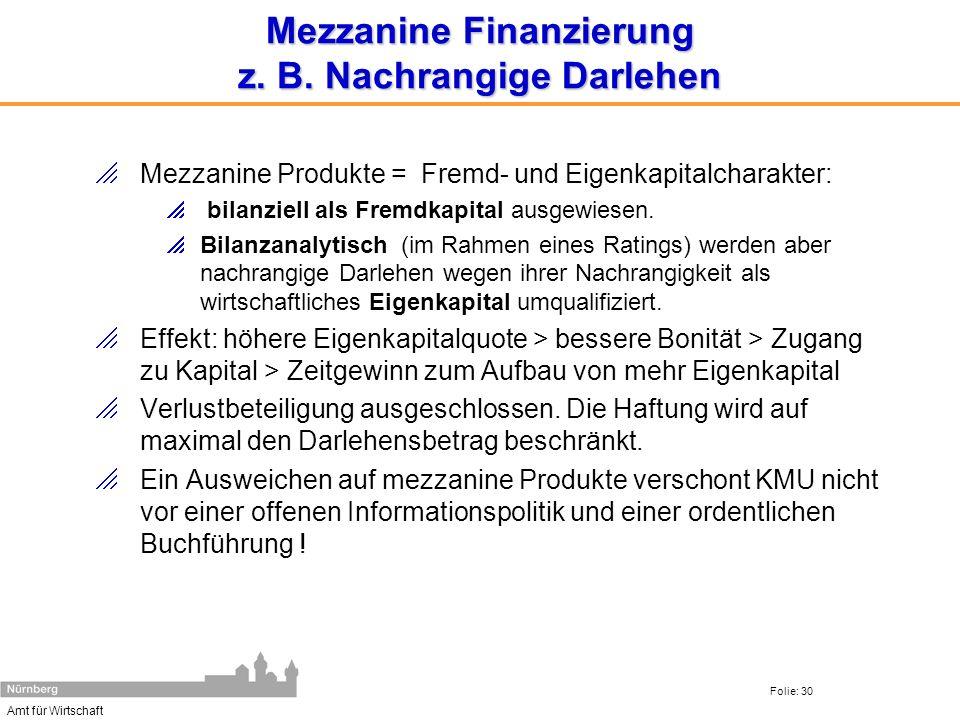 Amt für Wirtschaft Folie: 30 Mezzanine Finanzierung z. B. Nachrangige Darlehen Mezzanine Produkte = Fremd- und Eigenkapitalcharakter: bilanziell als F