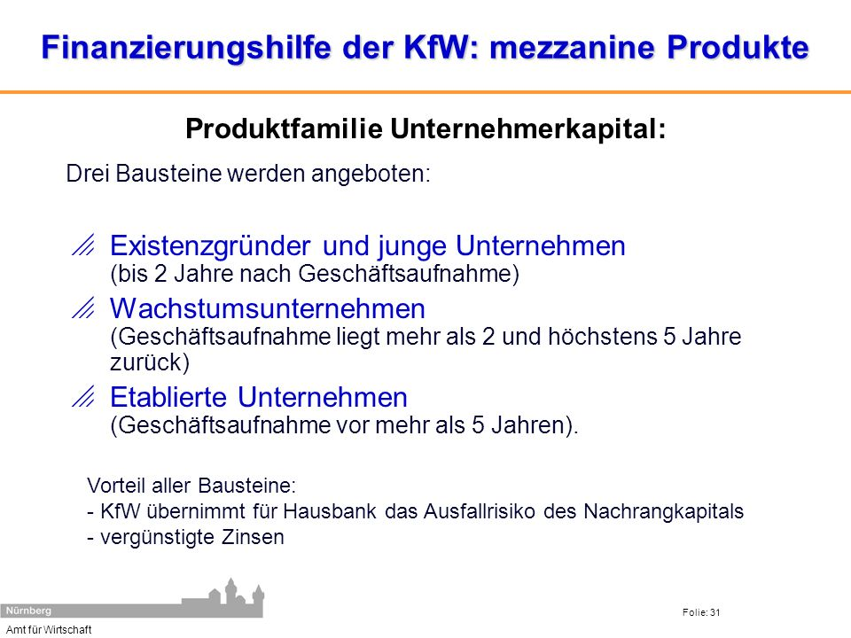 Amt für Wirtschaft Folie: 31 Finanzierungshilfe der KfW: mezzanine Produkte Existenzgründer und junge Unternehmen (bis 2 Jahre nach Geschäftsaufnahme)