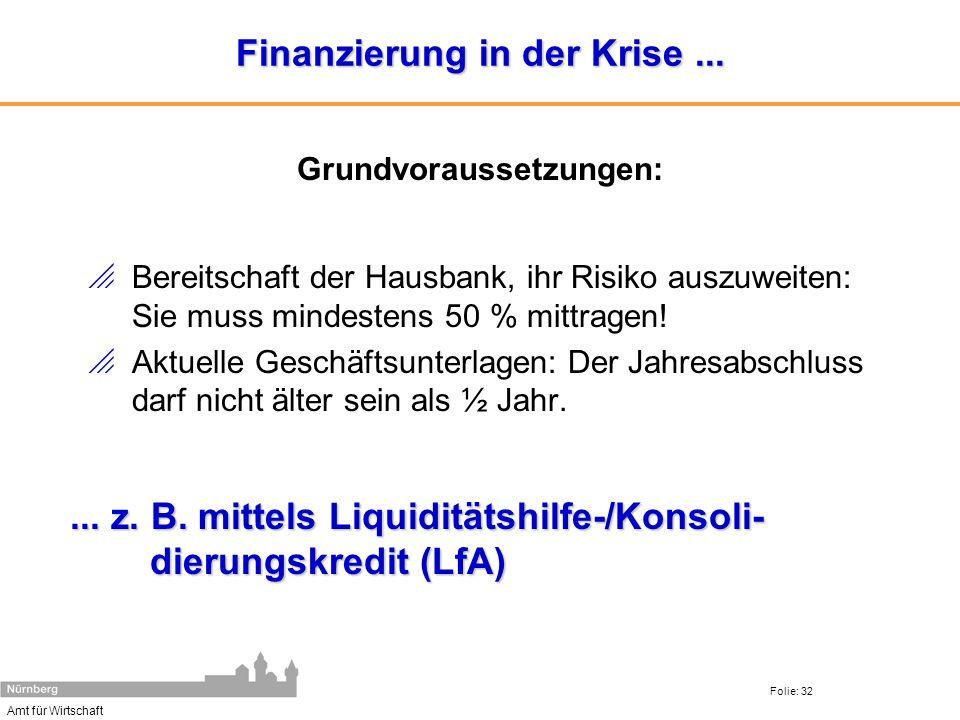 Amt für Wirtschaft Folie: 32 Finanzierung in der Krise... Bereitschaft der Hausbank, ihr Risiko auszuweiten: Sie muss mindestens 50 % mittragen! Aktue