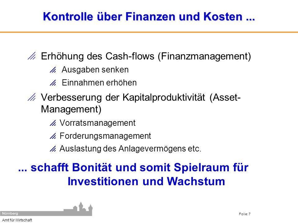 Amt für Wirtschaft Folie: 7 Kontrolle über Finanzen und Kosten... Erhöhung des Cash-flows (Finanzmanagement) Ausgaben senken Einnahmen erhöhen Verbess