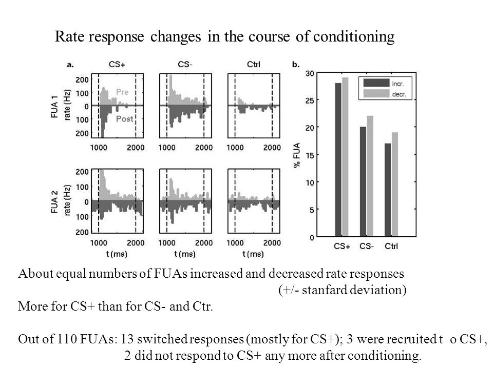 Rate response changes in the course of conditioning About equal numbers of FUAs increased and decreased rate responses (+/- stanfard deviation) More f