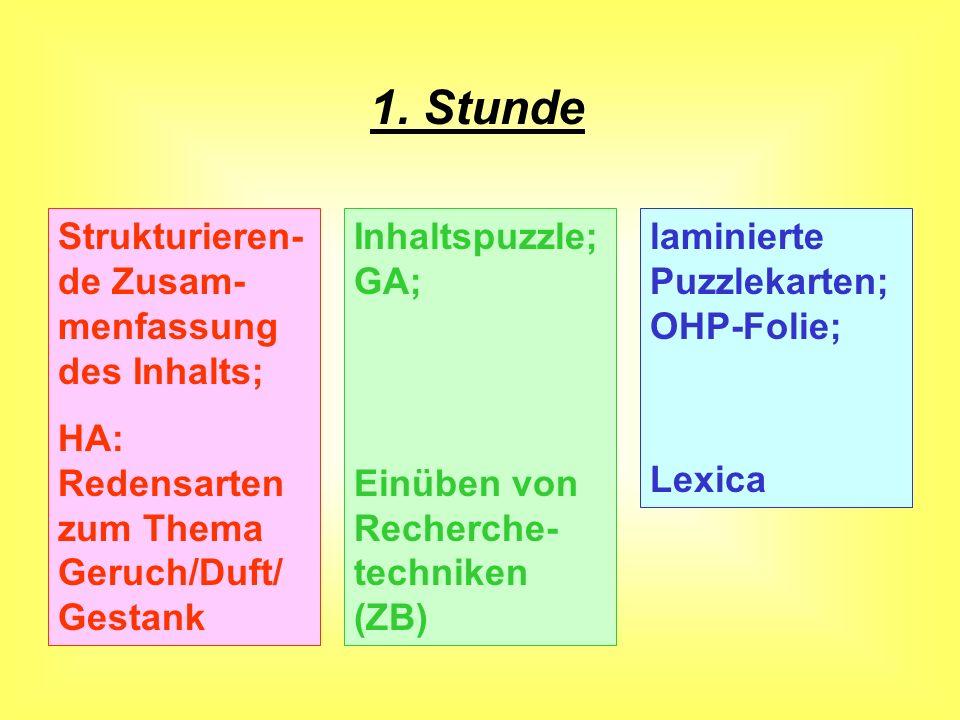 Stunde Null Freie LektüreHA (2 Wochen vor UE) Textausgabe (TB)