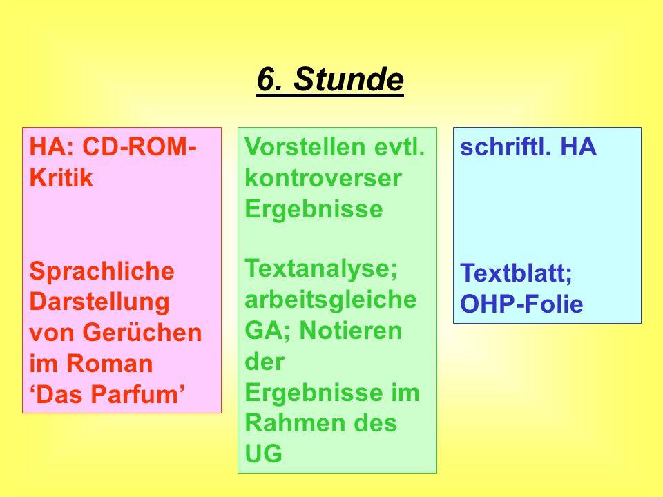 5. Stunde Das Parfum - eine multime- diale CD-ROM HA: Formulieren einer CD-ROM- Kritik GA am PC (Comp.-Raum); Bewerten einer CD-ROM nach den Kriterien