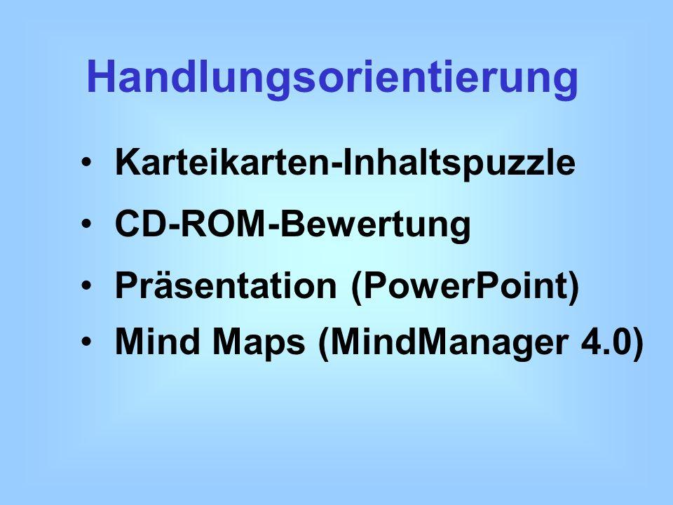 Handlungsorientierung Karteikarten-Inhaltspuzzle Mind Maps (MindManager 4.0) CD-ROM-Bewertung Präsentation (PowerPoint)