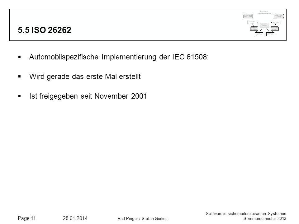 Software in sicherheitsrelevanten Systemen Sommersemester 2013 28.01.2014 Ralf Pinger / Stefan Gerken Page 11 5.5 ISO 26262 Automobilspezifische Implementierung der IEC 61508: Wird gerade das erste Mal erstellt Ist freigegeben seit November 2001