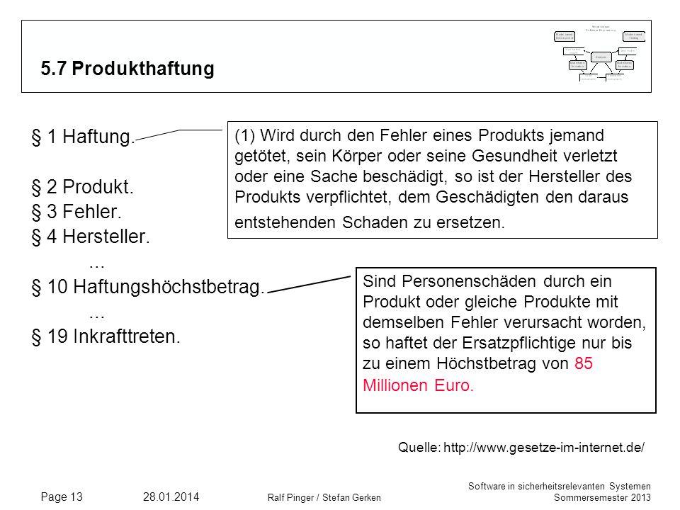 Software in sicherheitsrelevanten Systemen Sommersemester 2013 28.01.2014 Ralf Pinger / Stefan Gerken Page 13 5.7 Produkthaftung Sind Personenschäden durch ein Produkt oder gleiche Produkte mit demselben Fehler verursacht worden, so haftet der Ersatzpflichtige nur bis zu einem Höchstbetrag von 85 Millionen Euro.