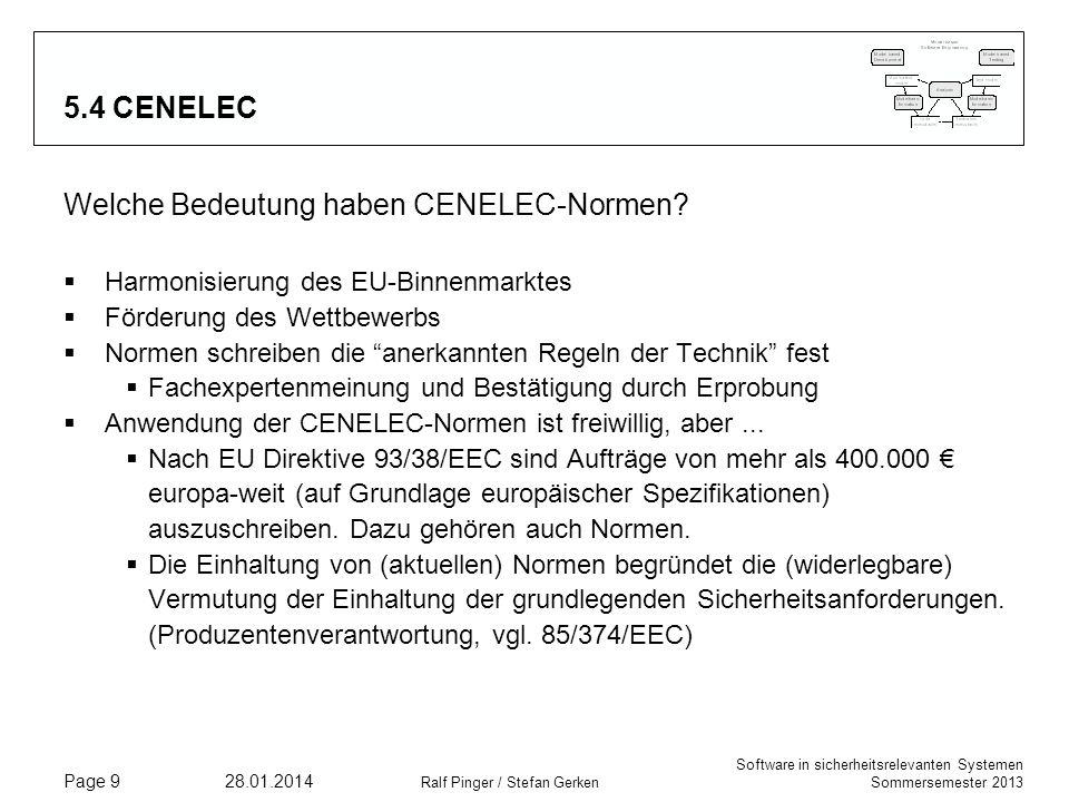 Software in sicherheitsrelevanten Systemen Sommersemester 2013 28.01.2014 Ralf Pinger / Stefan Gerken Page 9 5.4 CENELEC Welche Bedeutung haben CENELEC-Normen.