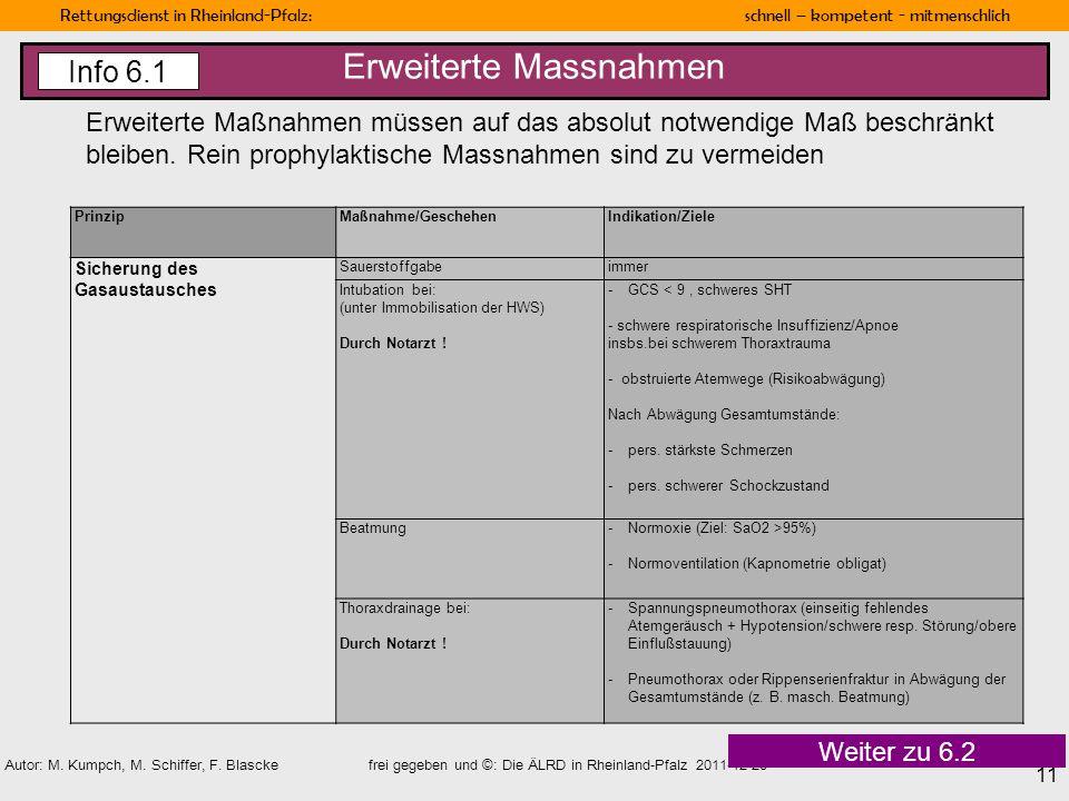 Rettungsdienst in Rheinland-Pfalz: schnell – kompetent - mitmenschlich 11 Autor: M. Kumpch, M. Schiffer, F. Blascke frei gegeben und ©: Die ÄLRD in Rh