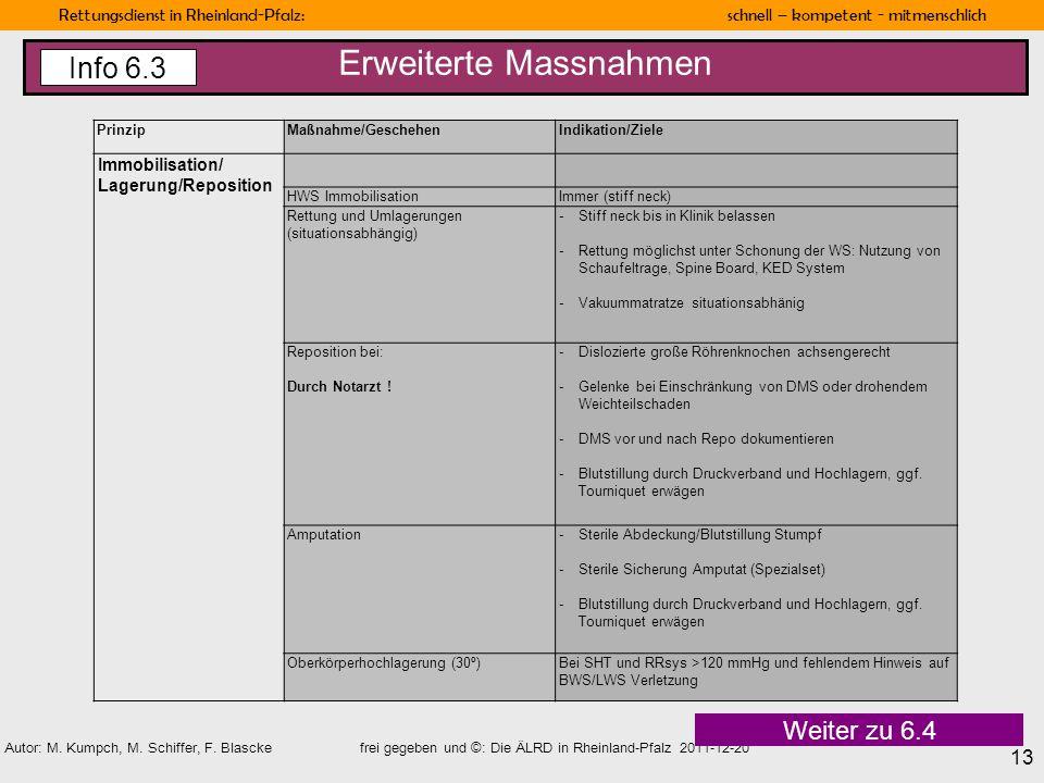 Rettungsdienst in Rheinland-Pfalz: schnell – kompetent - mitmenschlich 13 Autor: M. Kumpch, M. Schiffer, F. Blascke frei gegeben und ©: Die ÄLRD in Rh