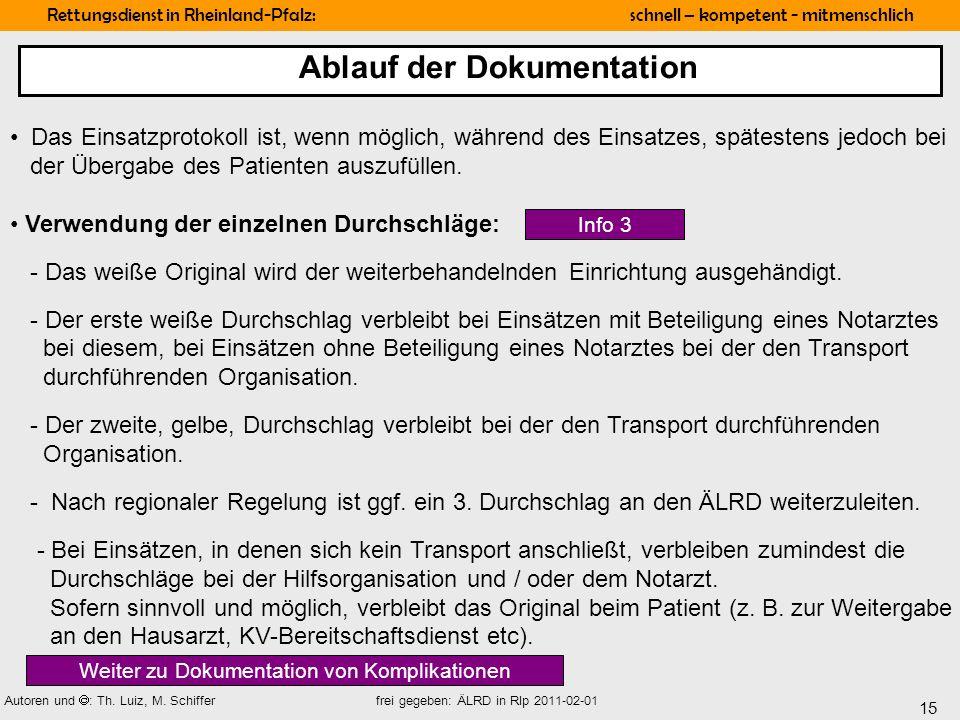 15 Rettungsdienst in Rheinland-Pfalz: schnell – kompetent - mitmenschlich Autoren und : Th. Luiz, M. Schiffer frei gegeben: ÄLRD in Rlp 2011-02-01 Das